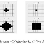 Figure 4: Structure of Neighborhoods; (1) Von Nuemann (2) Moore