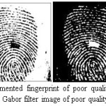 Figure 12.Segmented fingerprint of poor quality image taken from DB2 and Gabor filter image of poor quality