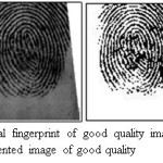 Figure 7.Original fingerprint of good quality image taken from DB2 and Segmented image of good quality